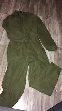 Army green button up jumpsuit