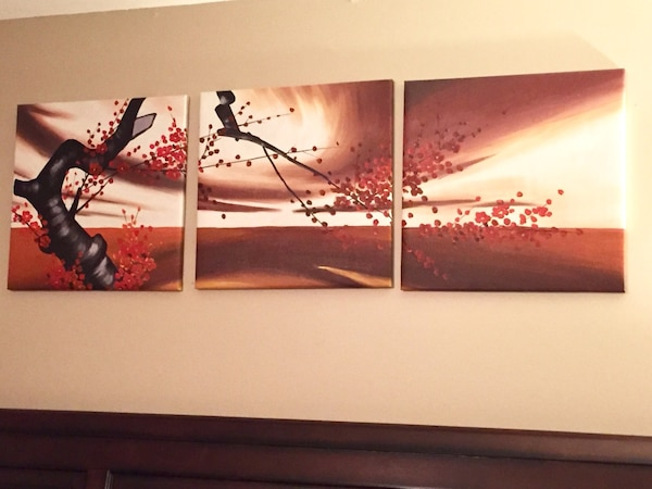Used 3 Piece Canvas Wall Painting Ready To Hang For Sale In