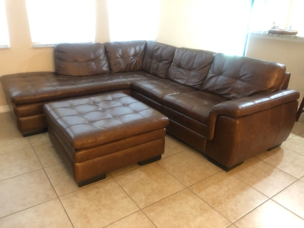 Leather Sectional Couch with Left Bumper and Ottoman with Storage