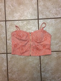 red and brown floral crop top Calgary, T2Y 3C3