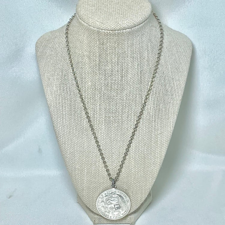 Antique Peruvian Silver Coin Pendant with Sterling Silver Chain 56db5d77-1ccf-4ff5-a9d4-b944d5183905