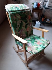 green and brown floral padded armchair PORTPERRY