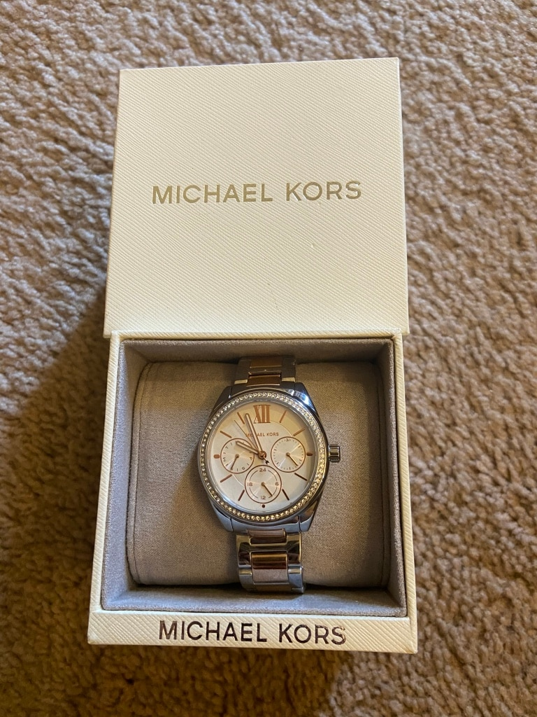 Photo MICHAEL KORS Sofie Rose/Silver & Crystal Women's Watch MK7093 NEW $250