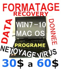 CENTRE DE FORMATAGE DE PC LAPTOP 30$ MONTREAL