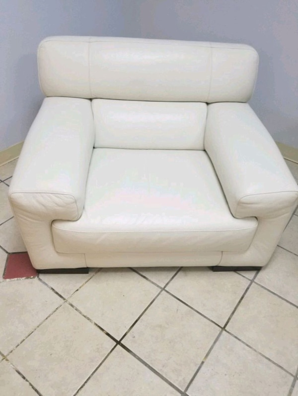 white leather sofa chair