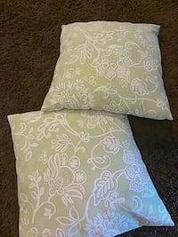 Two sqaure light green and white pillows