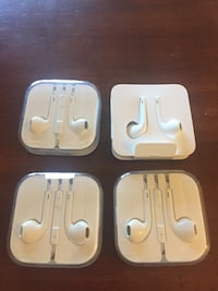 4 pair apple earbuds, one with small adapter too Plainfield
