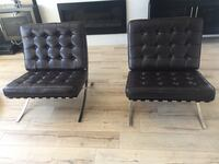 A set of brown leather Barcelona chairs in mint condition  Surrey, V4N 3W2