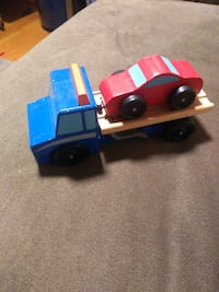 Melissa and Doug tow truck and car