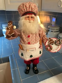 "Santa Baking figure 18"" tall ***NOTE:  on the cookie platter, a cookie is missing and has a left 3 nics. Porch pick up Olive Blvd. & Fee Fee west of Olive Blvd. & 270 Read Less"