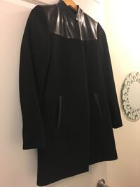 Black wool and leather Kenneth Cole ladies size 2 coat button inside Toronto, M3K