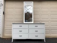 Solid Wood White Long Dresser With Mirror  48 km