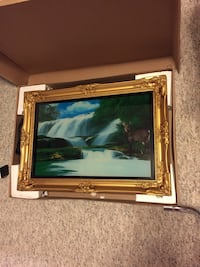 Light up picture. Beautiful pic of a deer with life like waterfalls, 24 x 12 & 1/2 inches. As new and still in original box. Great gift idea for a nature lover. Georgina, L4P 3C8