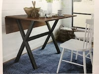Brown with Black Base Extendable Dining Table TORONTO