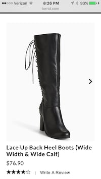 8W wide calf lace up high heels boot Bonney Lake, 98391
