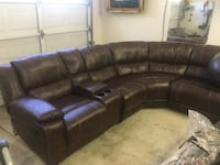 brown leather sectional sofa with ottoman Tracy, 95376