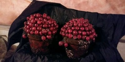 Christmas artificial cherry pots