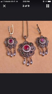 silver and red gemstone necklace Falls Church, 22041
