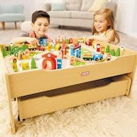 Little Tikes Real Wooden Train Table Set for Kids Winchester