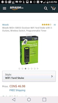 Woods WiOn 50053 Outdoor WiFi Yard Stake with 3-Ou Toronto, M2N 5M4