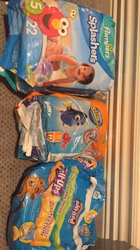 Pampers Splashers size 5, one package little swimmers size Medium 5 left and 2 pull ups. Vaughan, L4J 5L7