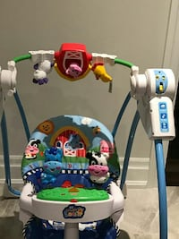 baby's white and blue Fisher-Price Lil' Laugh & Learn animal themed portable swing