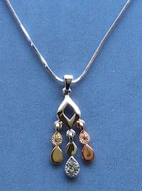 """Silver, Rose, Gold Rhodium Plated w/Crystal Necklace on 16"""" Snake Chain Boca Raton, 33433"""