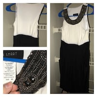 women's white and black sleeveless scoop-neck maxi dress collage Forsyth, 31029