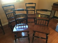 Four black wooden windsor chairs 67 km