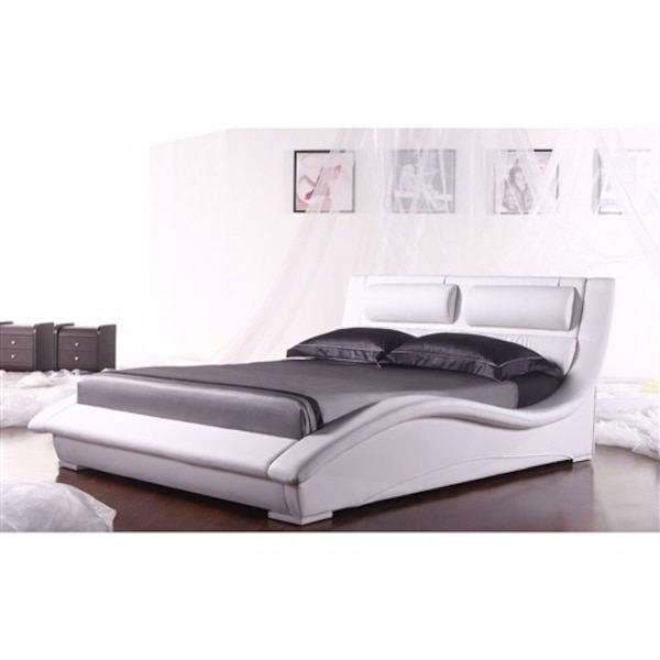6240a8dfd608a5 King Size Modern White Faux Leather Platform Bed With Headboard Get. Baxton  Studio Carlotta White Queen Upholstered Bed 28862 5190 Hd The Home Depot