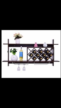 "Wall mounted wine rack & organizer. Brand new. In box. ""Black Walnut"" color. Firm on $50 Huntington Beach, 92648"