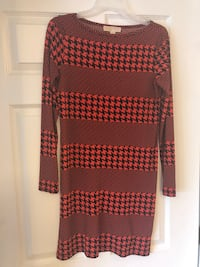 black and pink polka dot long-sleeved dress Fairfax