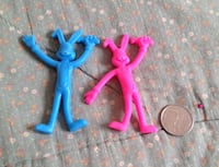 Blue and pink rabbit toys