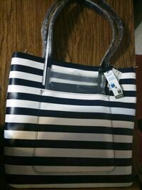 blue and white striped tote bag Plant City, 33563