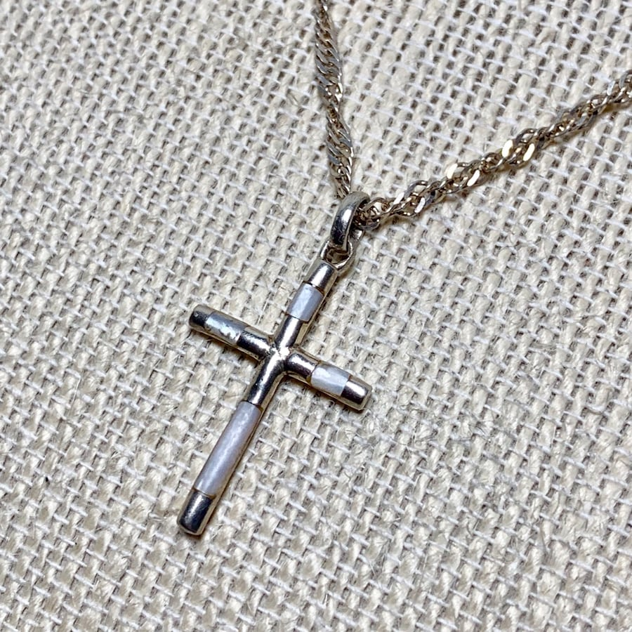 Classic Sterling Silver Mother of Pearl Cross Pendant & Sterling Chain