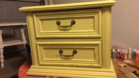 End Table or Night stand freshly painted in Buttercup & lightly distressed..has 2 functional drawers...very cute Virginia Beach, 23462