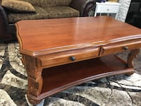 Brown wooden 2-drawer side table cafe table Mississauga, L5R 2Z3