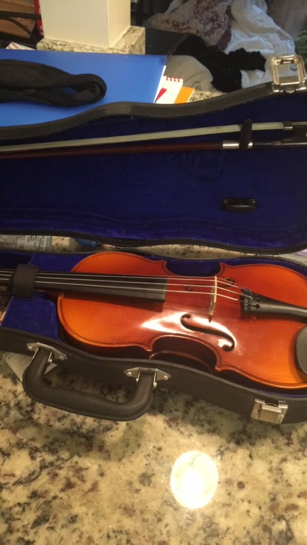 violin  half  size with bow , rosin and case