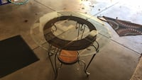 round glass top table with black metal base Barnhart, 63012