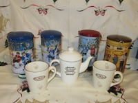 TIM HORTON'S COLLECTOR'S teapot, rare mugs (2007) and 4 Tins!!!! BRAMPTON