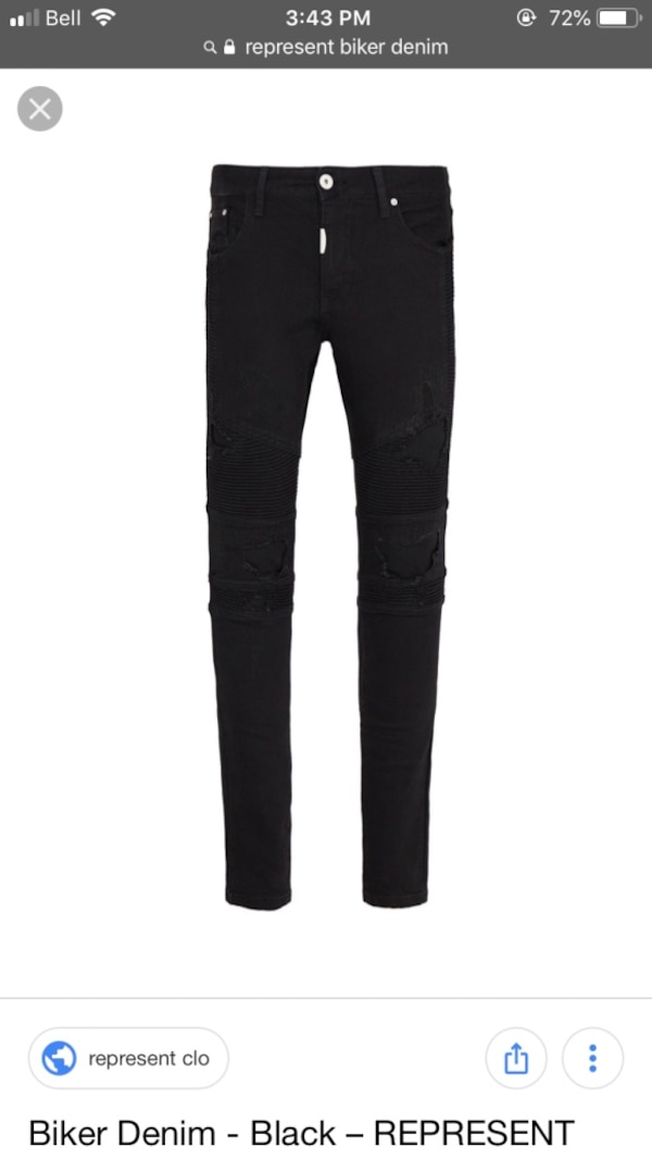 Represent True Black Biker Denim Jeans 1