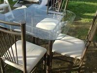 round glass top table with four chairs dining set Fergus