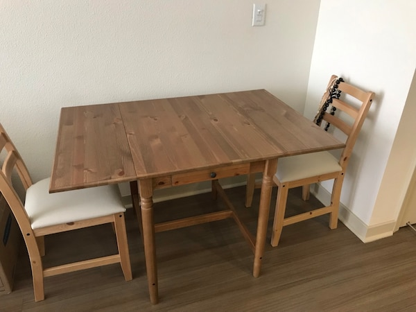 size 40 8eee1 a312f must pick up-- Ikea INGATORP drop leaf dining table with 2 LERHAMN Chairs