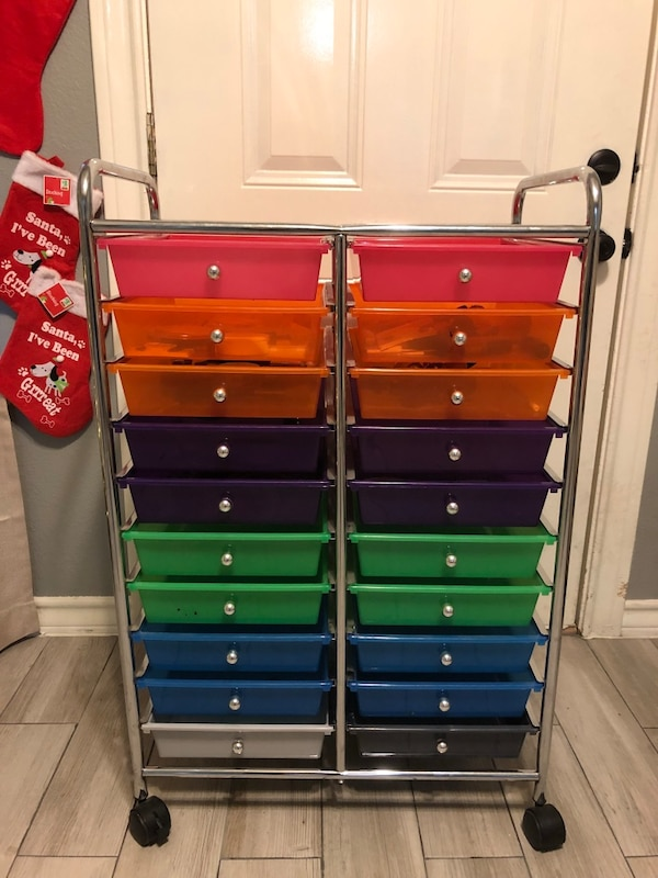 stainless steel-framed multi-colored drawers