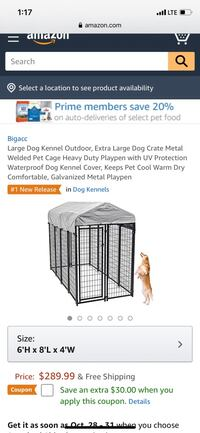 Large Dog Kennel with Cover  Ventura, 93001