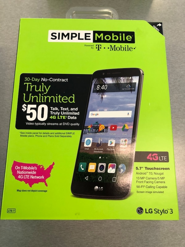 SIMPLE MOBILE LG STYLO 3 WITH UNLIMITED TALK, TEXT