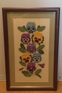 Vintage Framed across Stitch Pansies Flowers