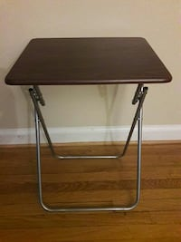 brown wooden folding table with black metal base Takoma Park