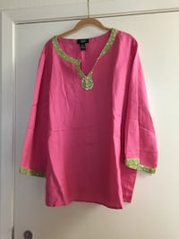 (NWOT) Hot in Hollywood pink and green linen and rayon top.  San Jose, 95131
