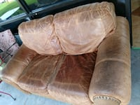2pcs. Brown Leather Loveseat& Recliner Humble, 77346